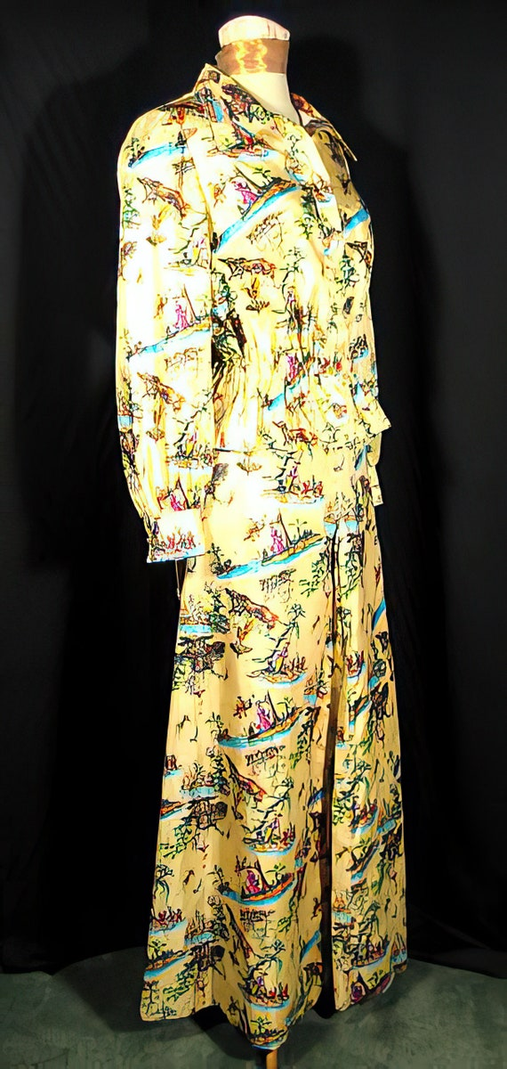 70s Silk Print Palazzo Pants Suit Chinoiserie - image 4