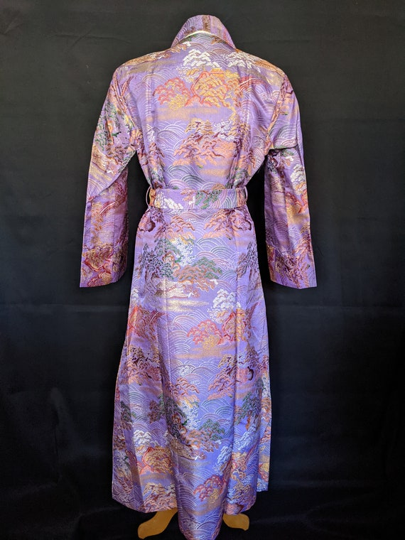 1940s Chinese Robe Brocade Lavender - image 6