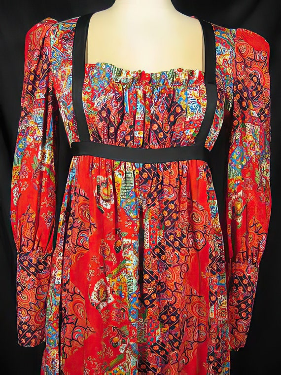1960s Gunne Sax Style Dress Red Patchwork - image 2