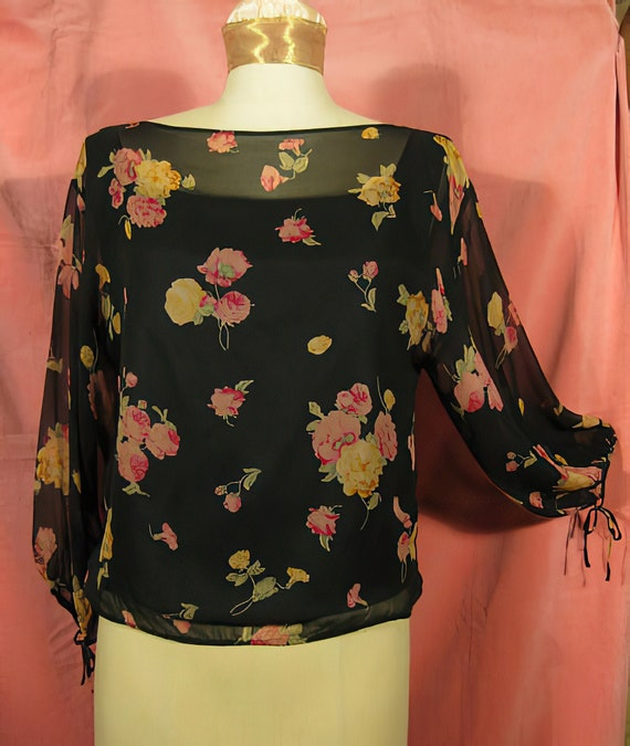 70s Silk Chiffon Blouse with Roses Print