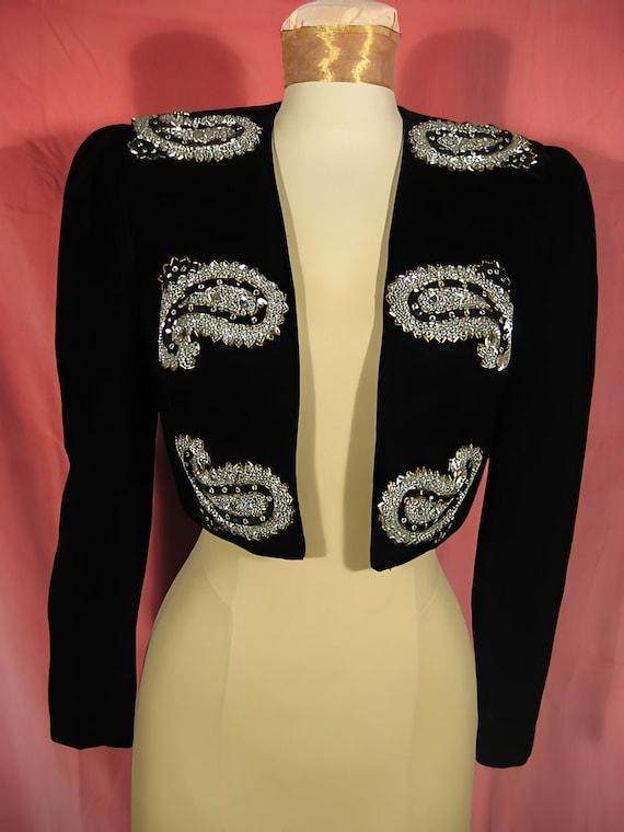 1980s Velvet Jacket by Julie Duroche Saks Fifth Av