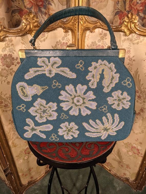 1950s Needlepoint Handbag Purse