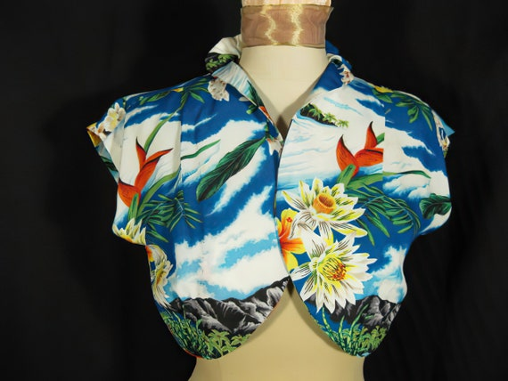 1940s Hale Hawaii Vintage Rayon Bolero Jacket Top