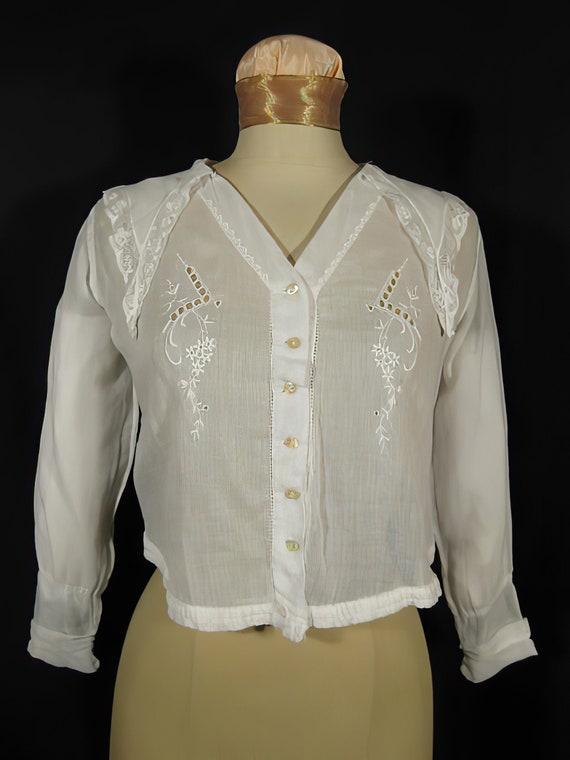 Edwardian White Embroidered Blouse