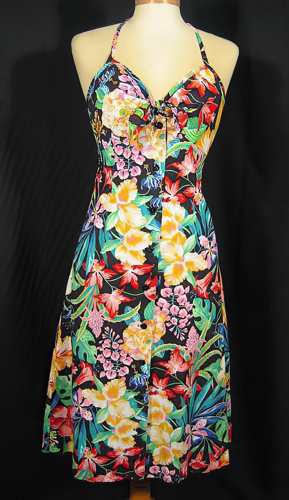 1970s Tropical Print Sundress