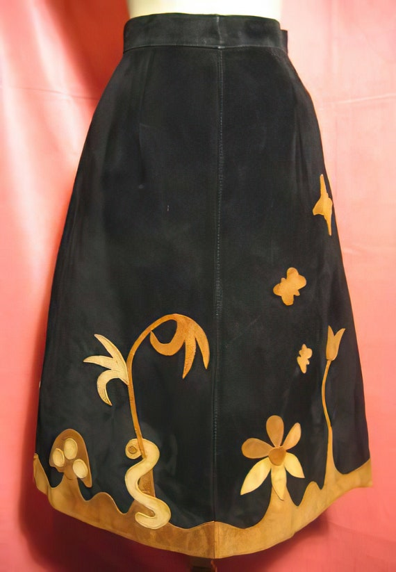 1960s Hippie Leather Skirt Appliqued Boho