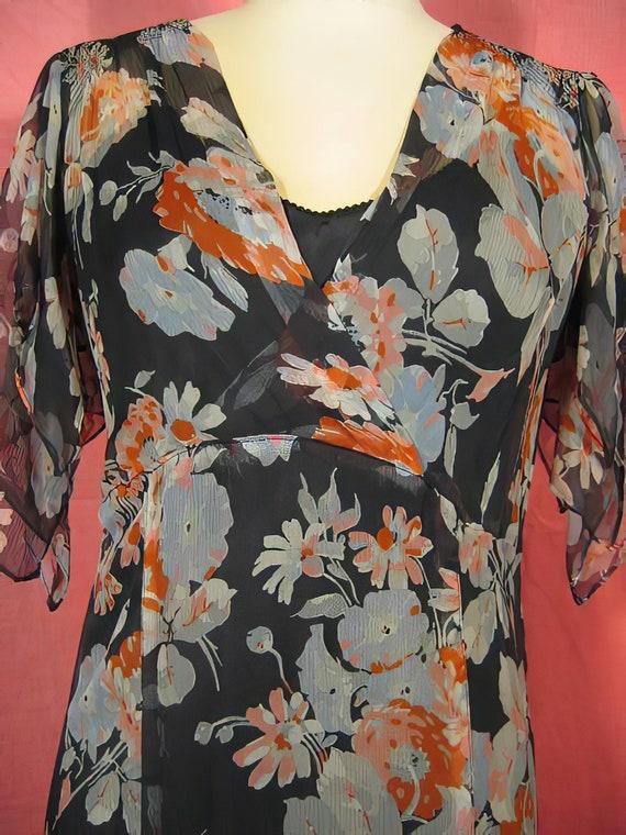 1930s Print Silk Chiffon Dress Gown - image 3