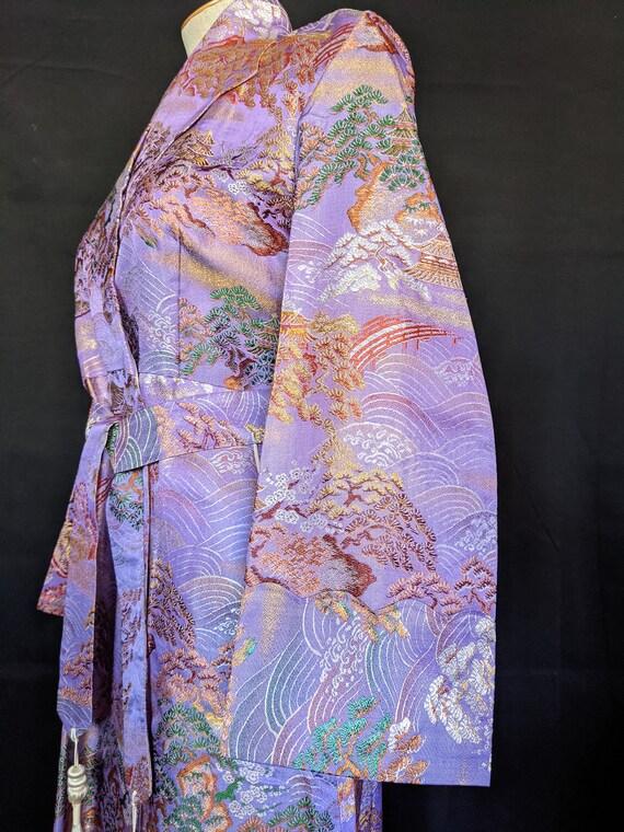 1940s Chinese Robe Brocade Lavender - image 5