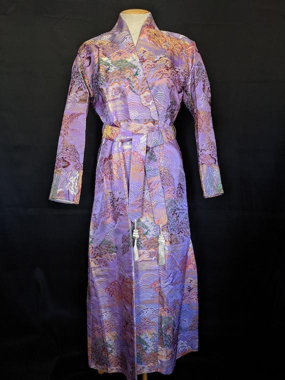 1940s Chinese Robe Brocade Lavender - image 1
