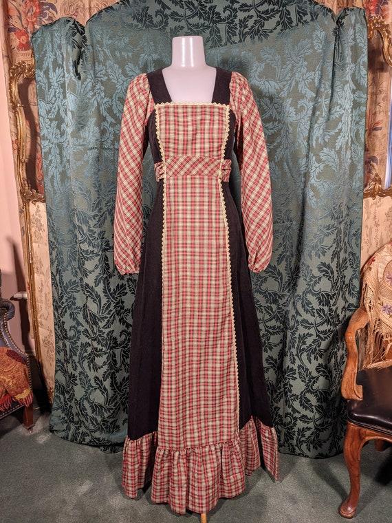1970s Patchwork Dress Gunne Sax Style - image 1