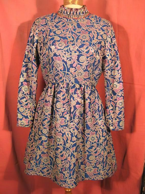 1960's Harvey Berin Dress Beaded Mini Mod Karen S… - image 1