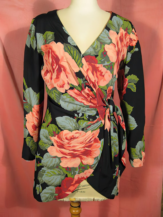 Betsey Johnson Giant Roses Tunic Blouse