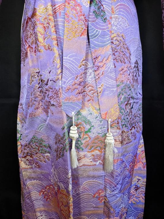 1940s Chinese Robe Brocade Lavender - image 3
