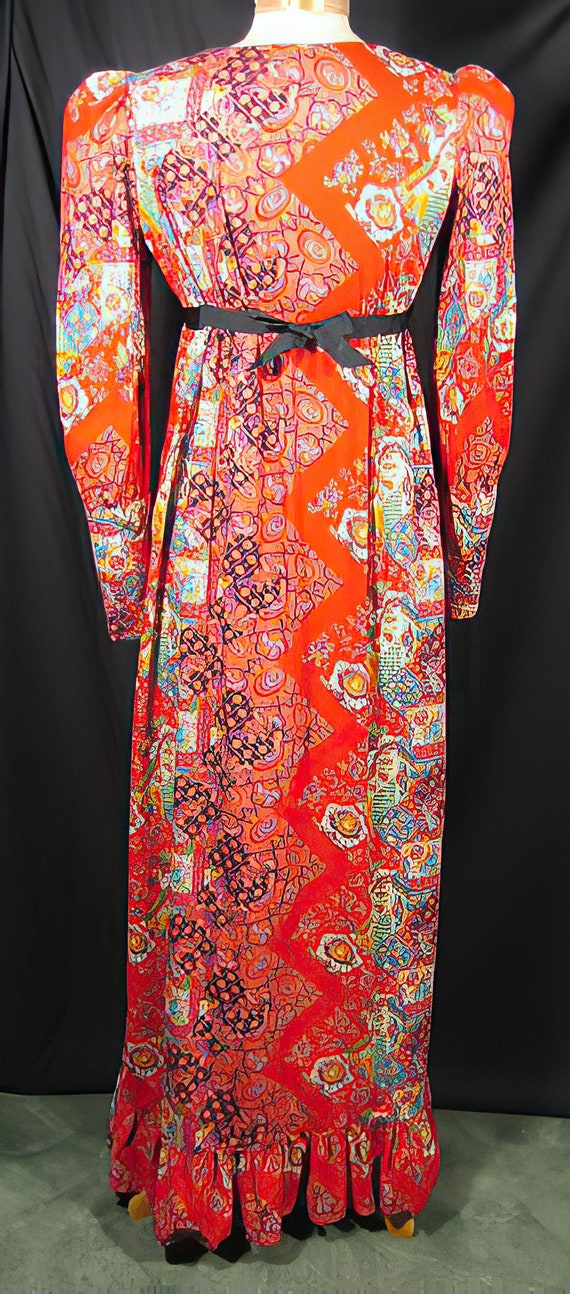 1960s Gunne Sax Style Dress Red Patchwork - image 4