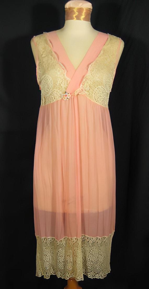 1920s Nightgown Silk Chiffon and Lace