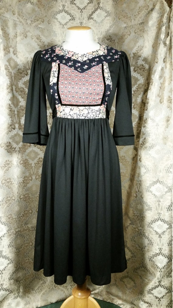 1970s Young Edwardian Dress Patchwork
