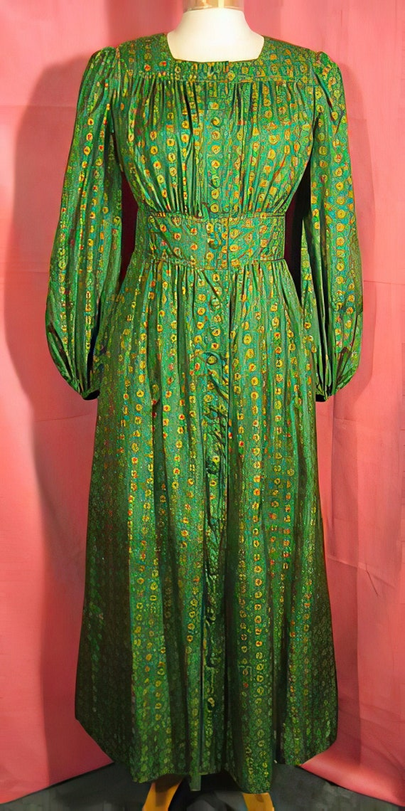 70's Jean Muir Peasant Dress Style Silk Boho