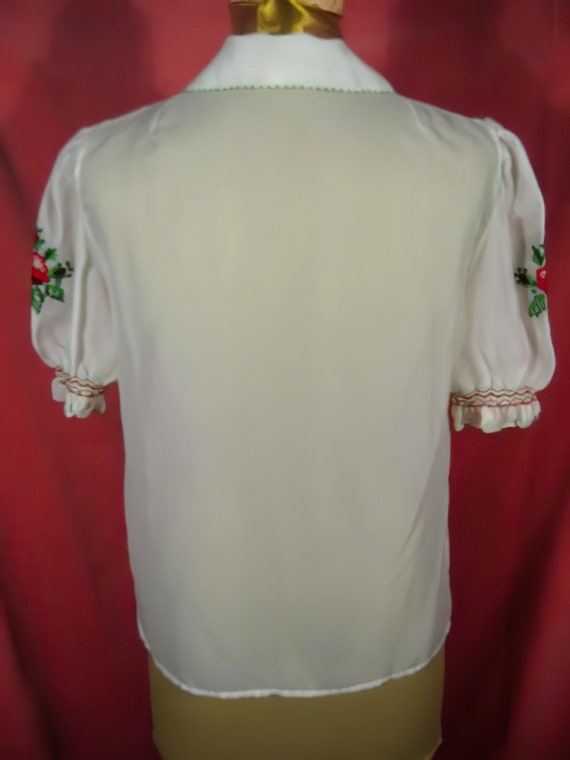 60's Embroidered Peasant Blouse Hungarian - image 4
