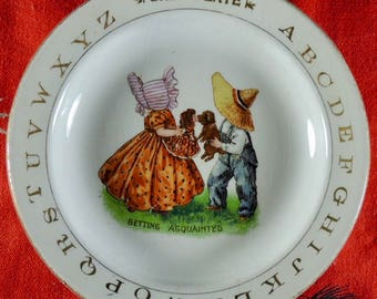 1920's Getting Acquainted Baby Plate
