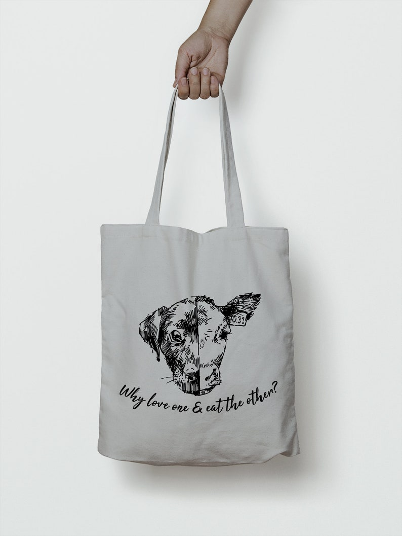 Animal Rights Print Reusable Cotton Grocery Bag Why Love One and Eat the Other Light Grey Veganism Illustrated Tote Bag Vegan Gift