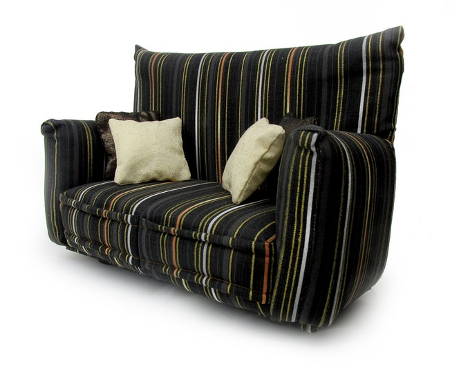 """Barbie Doll Furniture-Sofa with Pillows -1:6 scale-Black Multi Striped with four solid pillows-also works w/Blythe and 11"""" fashion doll"""
