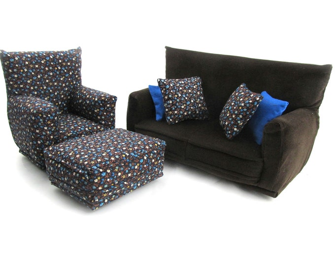 Barbie Doll Living Room Furniture 7-PC Play Set-1:6 scale-Brown with Blue/Beige tiny flower print-works w/Blythe any 11 inch fashion doll