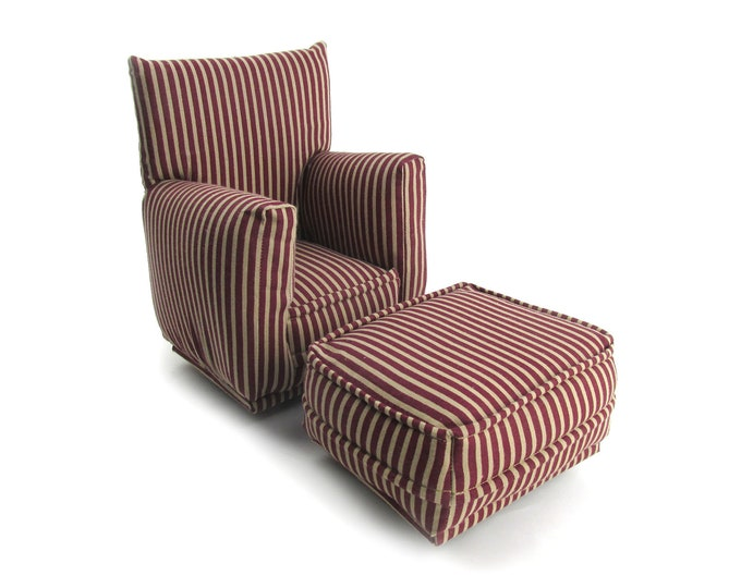 Barbie Doll Living Room Chair & Ottoman-Burgundy and Tan striped print-1:6 Scale- works with any Blythe and 11 inch fashion doll