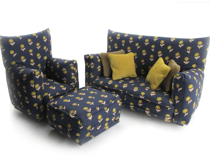 Barbie Doll Living Room Furniture 7-PC Play Set-1:6 scale-Navy and Tan flower print-works w/Blythe any 11 inch fashion doll
