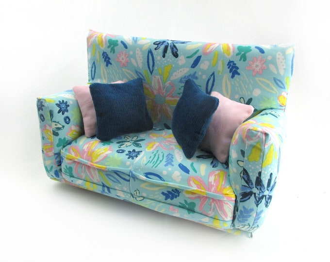 """Barbie Doll Furniture-Sofa with Pillows -1:6 scale-Light Teal, Pink, Yellow print with four pillows-also works w/Blythe and 11"""" fashion doll"""