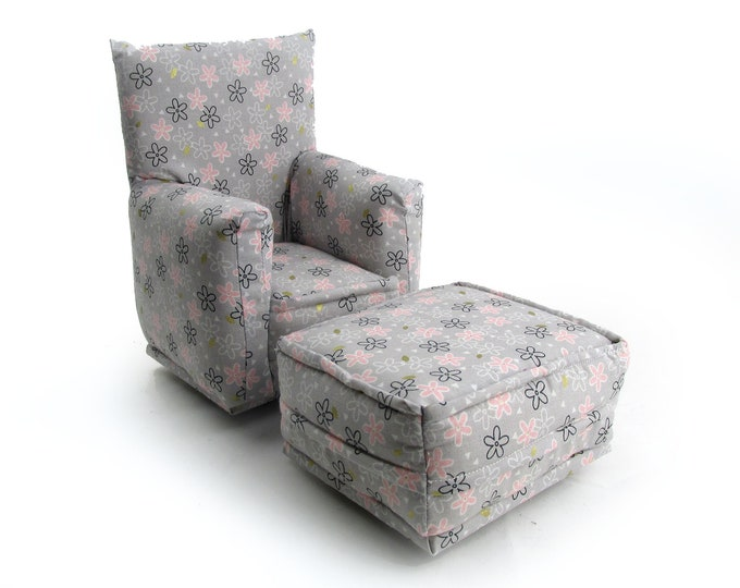 Barbie Doll Living Room Chair & Ottoman-Pale Gray with Pink Flower print-1:6 Scale- works with any Blythe and 11 inch fashion doll