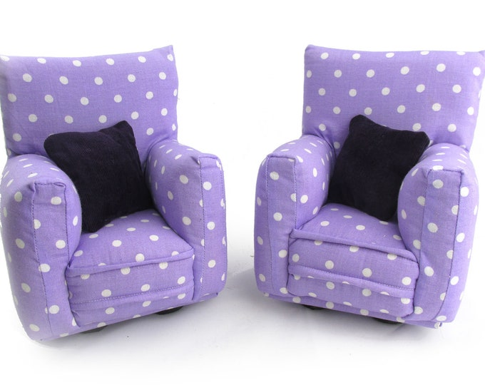 """Barbie Doll Furniture-Living Room Chairs with Pillows-1:6 scale-Purple/White polka dot print-also works w/any Blythe and 11"""" fashion doll"""