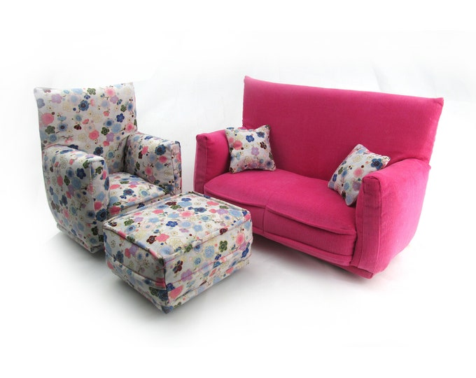 Barbie Doll Living Room Furniture 5-PC Play Set-1:6 scale-Pink and Pale Blue flower print-works w/Blythe any 11 inch fashion doll