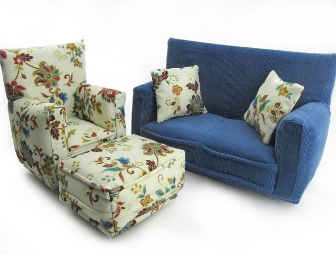 Barbie Doll Living Room Furniture 5-PC Play Set-1:6 scale-Blue with Oriental Vine print-works w/ Blythe any 11 inch fashion doll