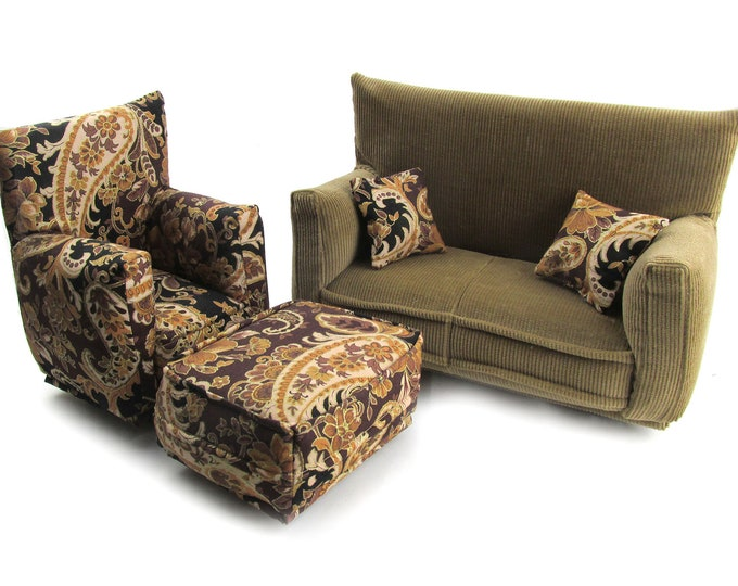 Barbie Doll Living Room Furniture 5-PC Play Set-1:6 scale-Medium Brown with Paisley print-works w/ Blythe any 11 inch fashion doll