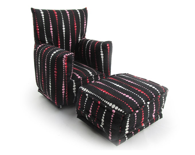 Barbie Doll Living Room Chair & Ottoman-Black with Pink/White geo-striped print-1:6 Scale- works with any Blythe and 11 inch fashion doll