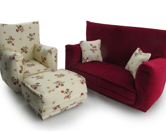 Barbie Doll Living Room Furniture 5-PC Play Set-1:6 scale-Burgundy with Yellow flower print-works w/ Blythe any 11 inch fashion doll