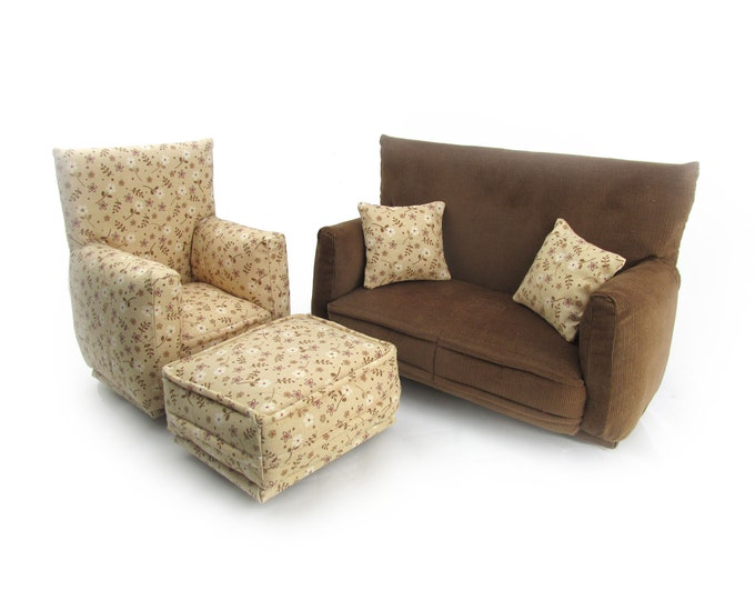 Barbie Doll Living Room Furniture 5-PC Play Set-1:6 scale-Brown with Beige and White flower print-works w/Blythe any 11 inch fashion doll