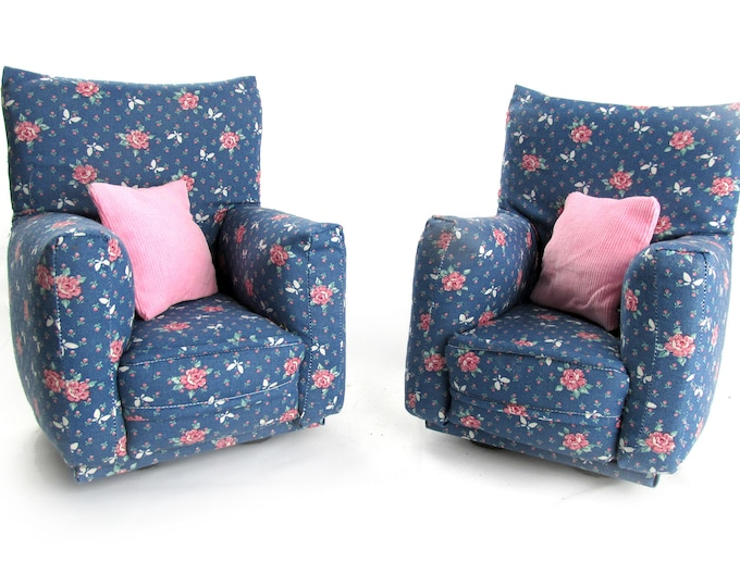 "Barbie Doll Furniture-Living Room Chairs with Pillows-1:6 scale-Blue with Pink flower fabric-also works w/ any Blythe and 11"" fashion doll"
