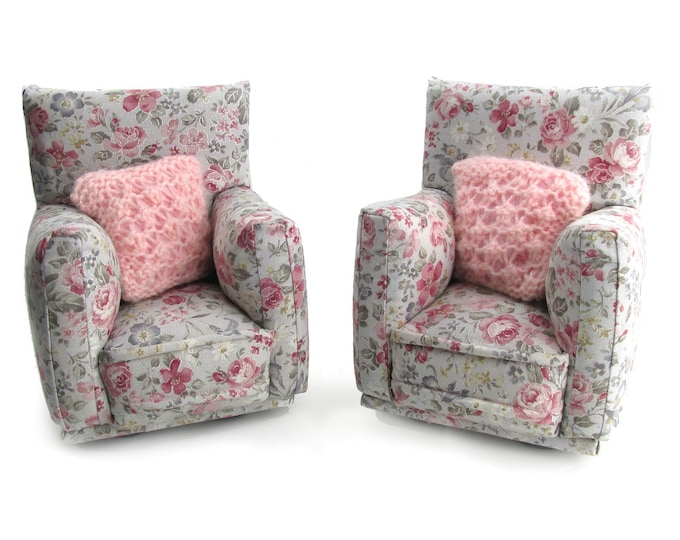 """Barbie Doll Furniture-Living Room Chairs with Pillows-1:6 scale-Pale Gray with Rose print -also works w/ any Blythe and 11"""" fashion doll"""