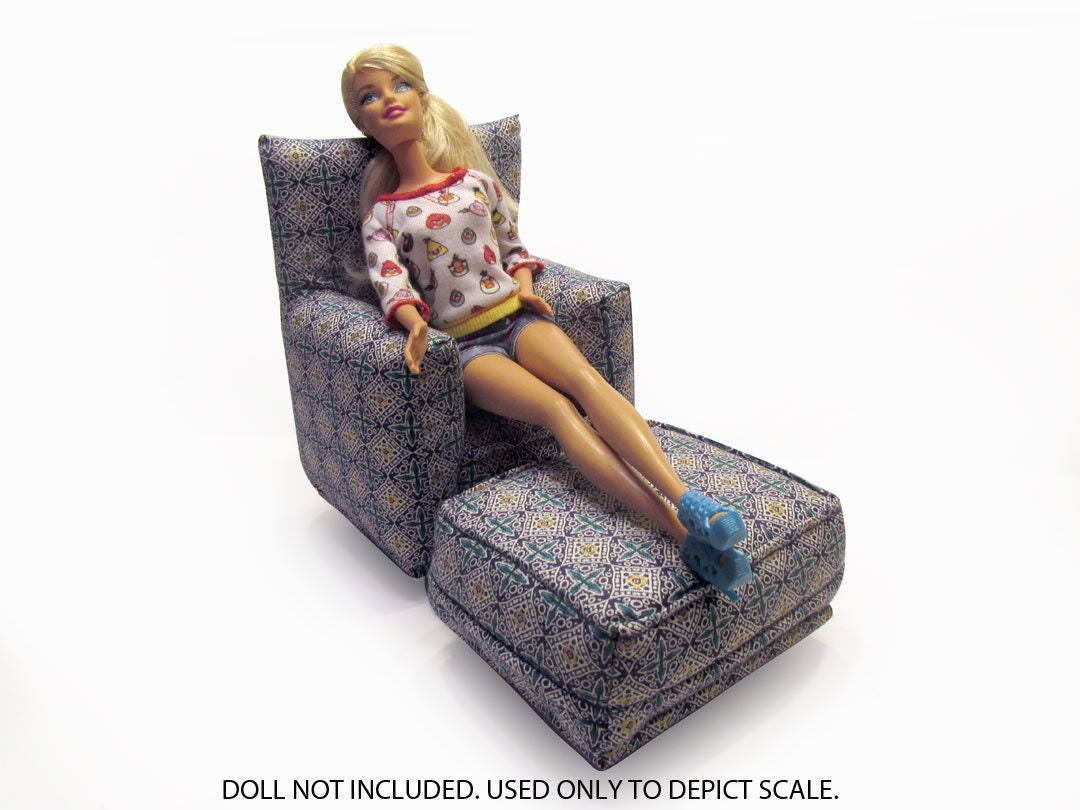 Barbie Doll Living Room Chair & Ottoman-Blue and White geometric ...