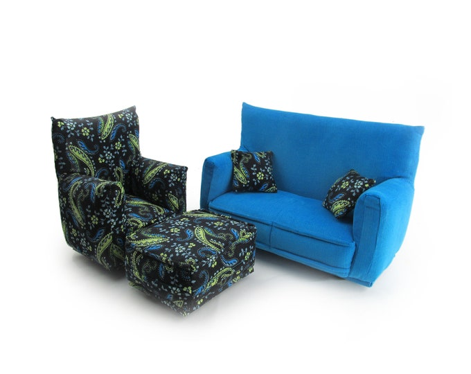 Barbie Doll Living Room Furniture 5-PC Play Set-1:6 scale-Teal with Black/Teal/Green Paisley print-works w/Blythe any 11 inch fashion doll
