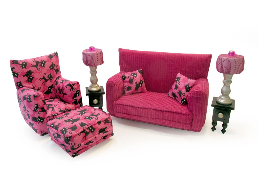 Barbie Doll Living Room Furniture 9 Pc Play Set 1 6 Scale Hot Pink Black Cat Print Works W Blythe Any 11 Inch Fashion Doll