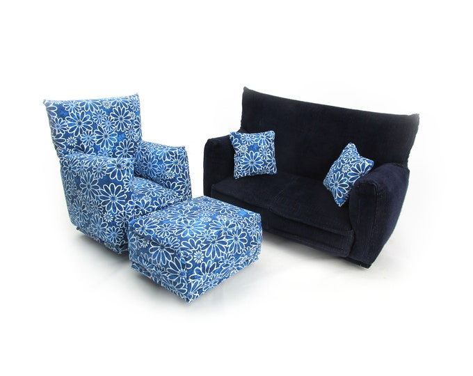 Barbie Doll Living Room Furniture 5-PC Play Set-1:6 scale-Navy Blue with Daisy Outlined flower print-works w/Blythe any 11 inch fashion doll