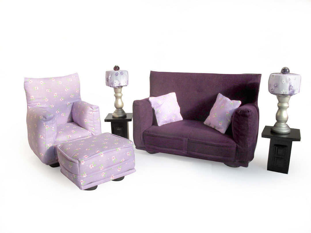Barbie Doll Living Room Furniture 9-PC Play Set-1:6 scale-Purple ...
