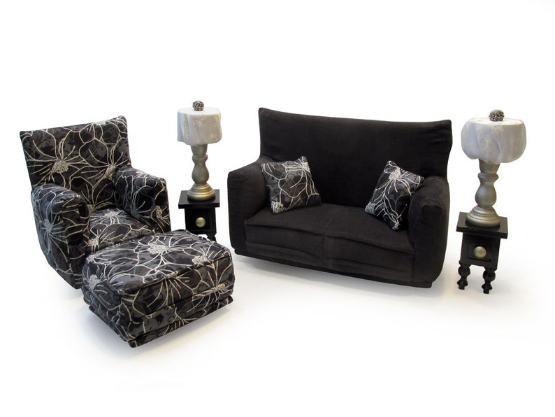 Barbie Doll Living Room Furniture 9-PC Play Set-1:6 scale-White outlined  flowered/Charcoal print-works w/ Blythe any 11 inch fashion doll