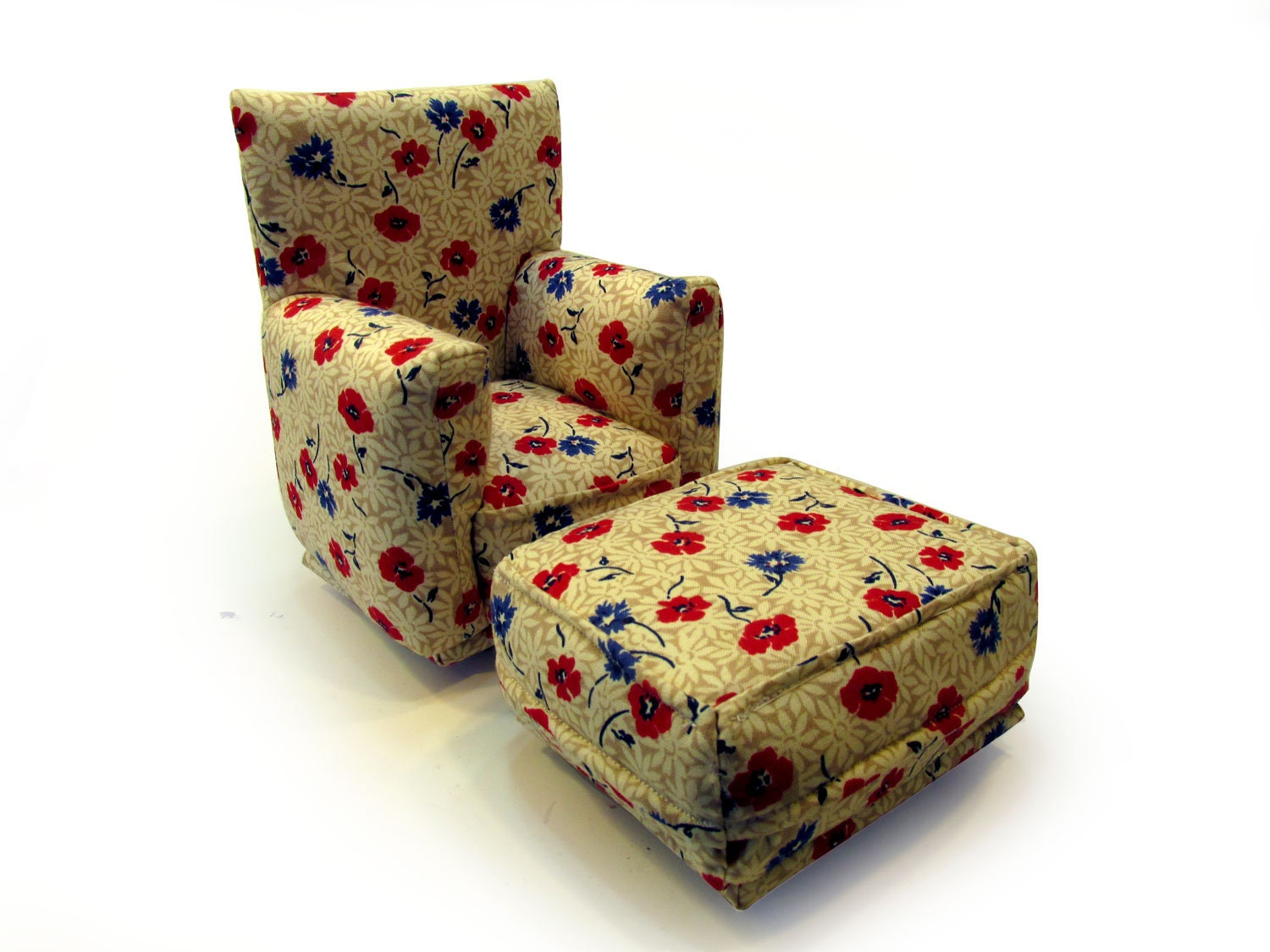 Barbie Doll Living Room Chair Ottoman Red Blue White And Beige Flower Print 1 6 Scale Works With Any Blythe And 11