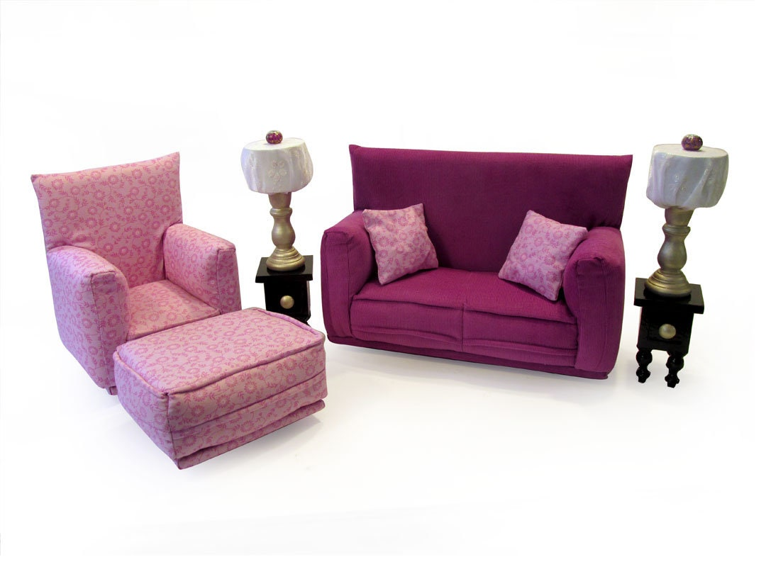 Barbie Doll Living Room Furniture 9 PC Play Set 1:6 Scale Amethyst Fabric  Solid And Print   Works With Blythe Any 11 Inch Fashion Doll