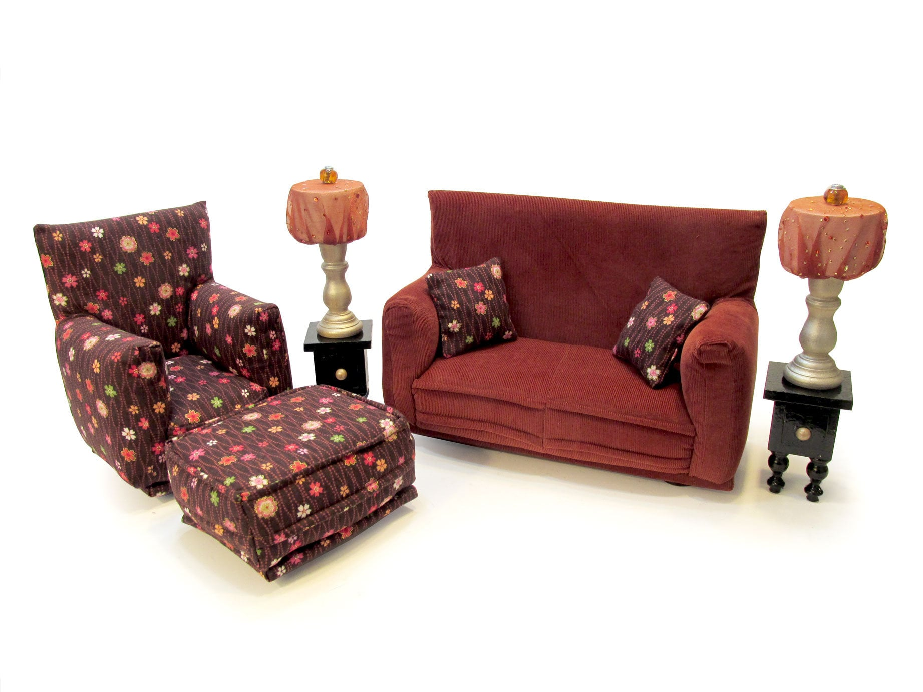 Barbie Doll Living Room Furniture 9 Pc Play Set 1 6 Scale Rust With Brown Tiny Flower Print