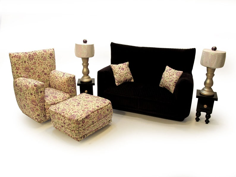 Barbie Doll Living Room Furniture 9-PC Play Set-1:6 scale-Dark Plum Purple  with Beige flower print-works w/ Blythe any 11 inch fashion doll