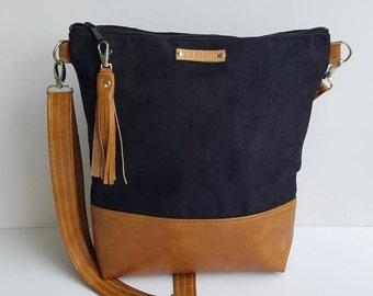 141ae9ca9beb Black Vegan Suede Crossbody Bag Faux Suede Purse Vegan Leather Messenger Bag Everyday  Bag Zippered Crossbody Bag Black Handbag Gift for Her